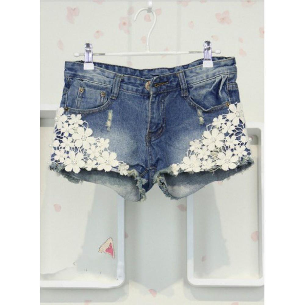 Джинсовые шорты с вышитыми цветами - The Informal Shop 90